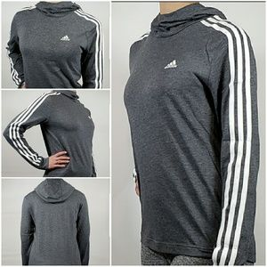 NWT! Adidas Ladies Heather Black Jersey Hoody